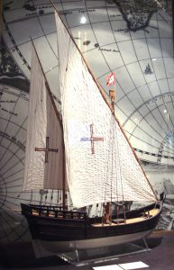 Photo of the caravel shows the lateen sails, which improved the handling of the ship. Some caravels had a square-rigged sail. Photo by PHGCOM of a Portuguese caravel, in the Musee de la Marine, Paris